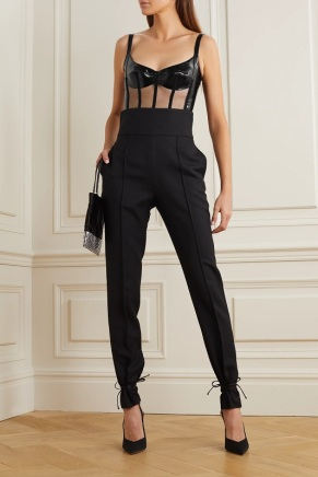 David Koma black patent leather tulle bodysuit model