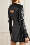 David Koma black sequin o-ring dressback