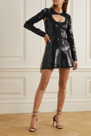 David Koma black sequin o-ring dress model