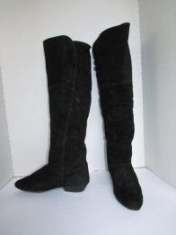 Vintahe Black Suede OTK boots