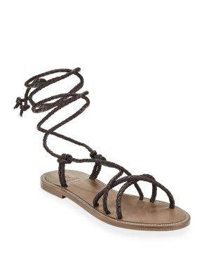 Brunello Cucinelli braided leather wrap sandals $850