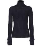 Chloe Ruffle Cuff Merino Rib Knit Turtleneck Sweater$895