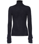 Blue Chloé Ruffle Cuff Ribbed Merino Wool Turtleneck Sweater.$895