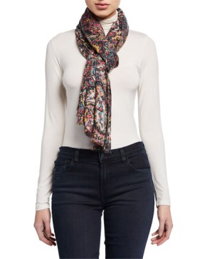 Lily and Lionel colored Paisley Cashmere Modal Scarf $280