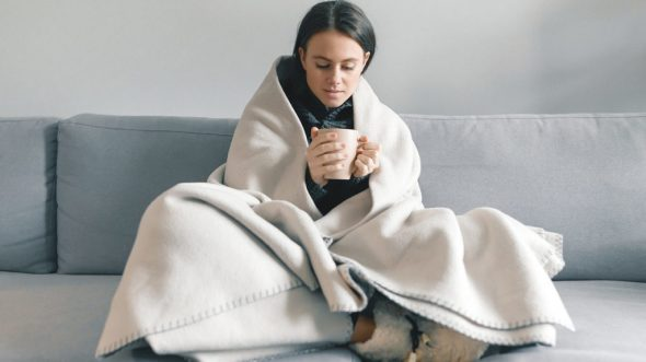 Coffee in a blanket and socks