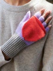 Colorblock Cashmere Fingerless Mittens