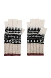 Fair Isle White and Warren Fingerless Gloves