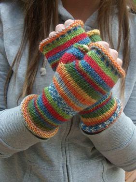 Rainbow Fingerless Gloves Etsy