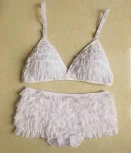 UTMEON white ruffled lingerie set