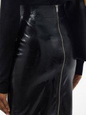 Saint Laurent Latex Pencil Skirt in Black zip