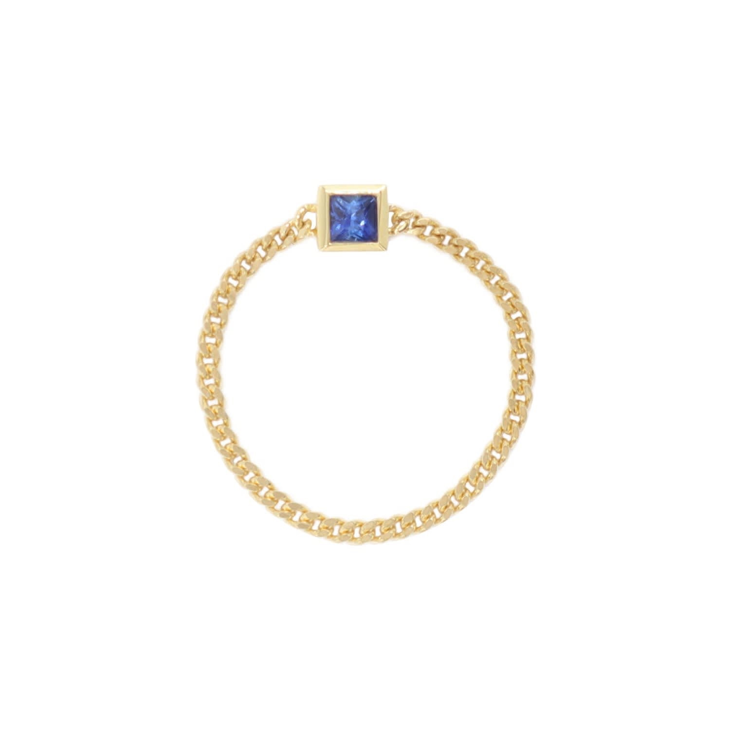 18K Gold The Dainty Sapphire Chain Ring _ Dainty Dagger _ Wolf & Badger