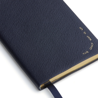 Smythson The Only Way Is Up Chelsea Notebook Navy $145