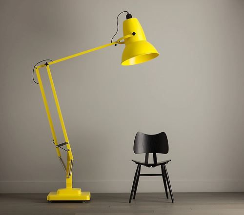 1227 giant floor lamp by Anglepoise is a triple sized lamp designed to celebrate the 70th birthday of Original 1227 lamp yellow