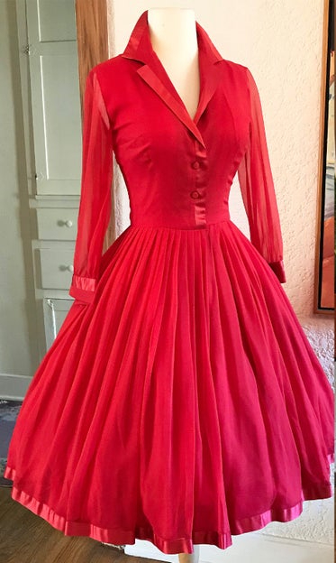 1950's Red Silk Chiffon Liz Taylor Style Party Dress for Pavion by Dave Barr Vintage Chic Cocktail Party Dress Size Small Etsy $250