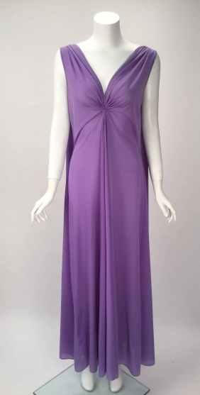 1960s Claire Sandra by Lucie Ann Beverly Hills Purple Peignoir 4