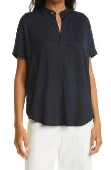 Club Monaco Jandina Navy Blue Linen Jersey Split Collar Shirt $98.50