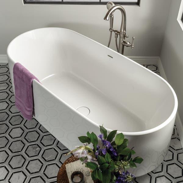 Kohler-K-8336-Ceric-65_-Lithocast-Gloss-Soaking-Tub-for-Freestanding