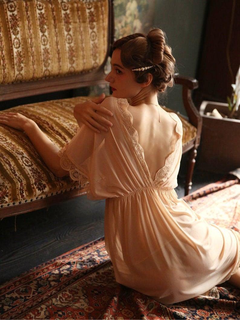 Loose Sheer Nightgown V neck Etsy