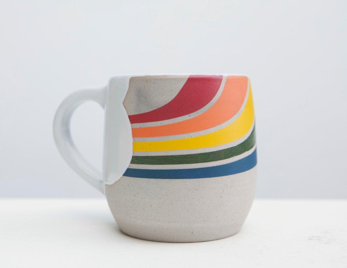 PlayfulCeramics Rainbow Mug $80