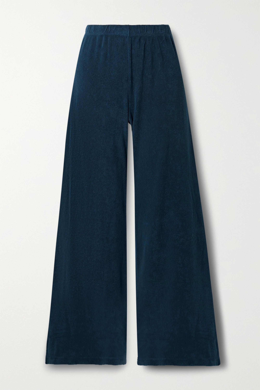 Suzie Kondi Organic Cotton French Terry Wide Leg Navy Blue Pants