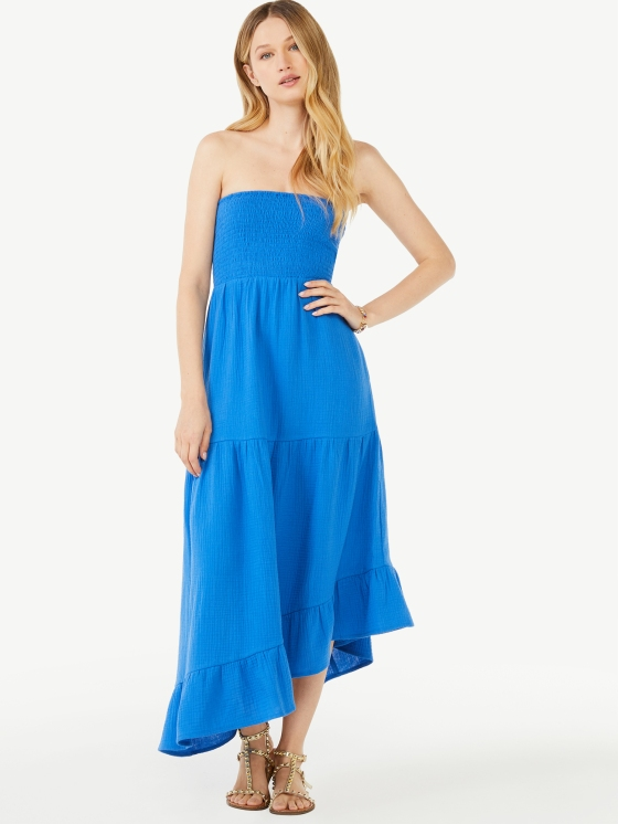 Walmart Scoop 100% Cotton Summer Dress Blue $28.50