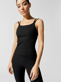 Carbon 38 double strap ribbed tank black