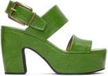 Dries van Noten Green Lizard Platform Sandals