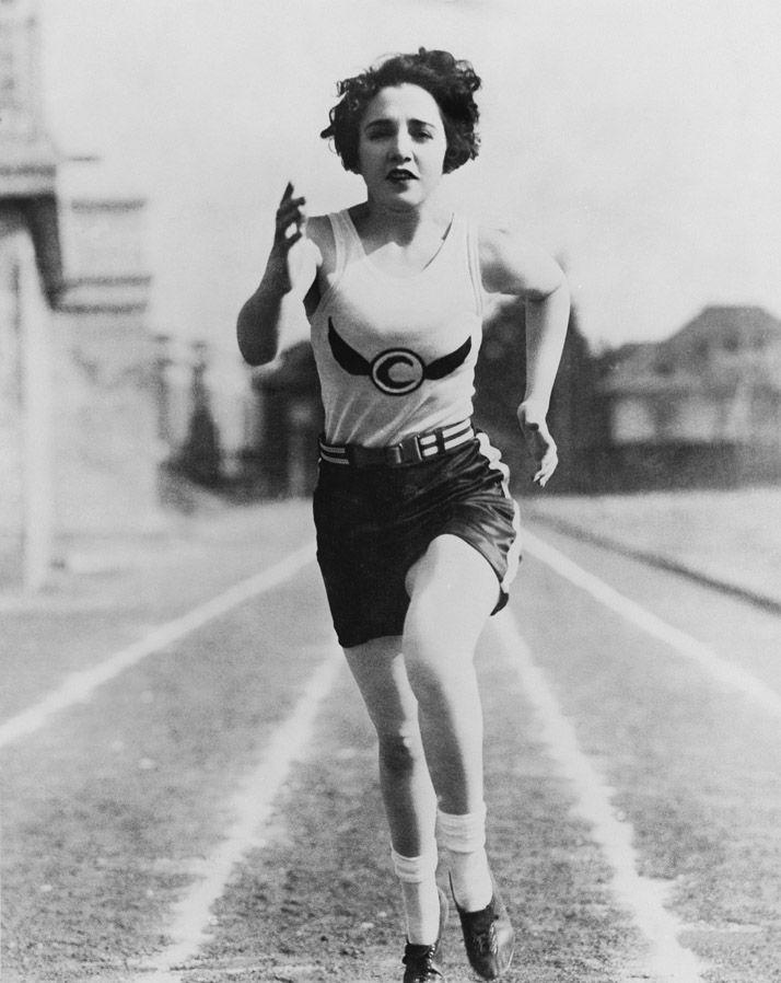 Vintage photo woman running