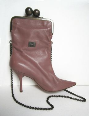 Moschino Boot Bag Pink Leather Vintage