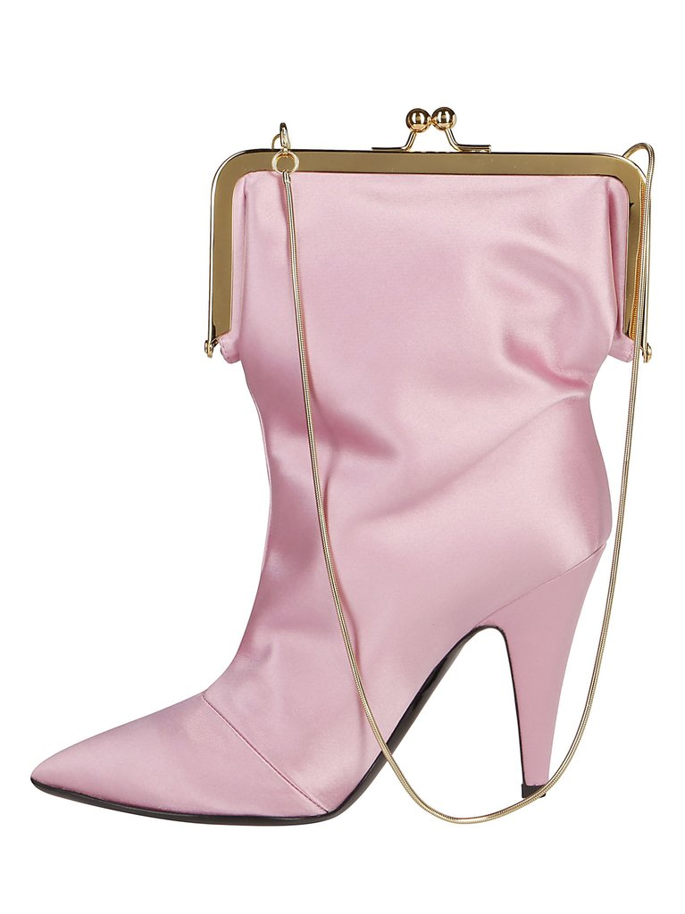 Moscino Pink Satin Bootie Bag side